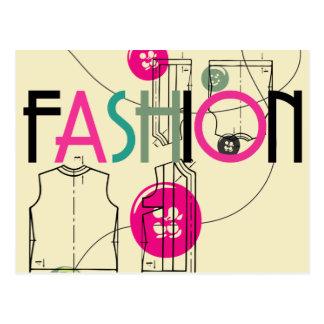 Mode und Knopf und Faden Postkarte