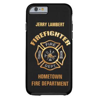 Modèle de nom d'or de corps de sapeurs-pompiers coque tough iPhone 6