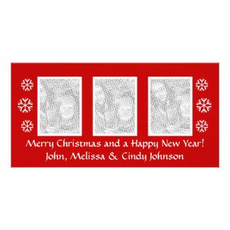 Modèle de photocard de Noël pour trois photos Photocarte Personnalisée