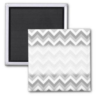 Modèle de zigzag gris et blanc magnet carré