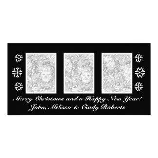 Modèle noir | de carte photo de Noël trois photos Photocarte