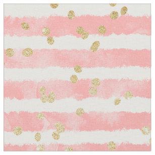 Modern erröten rosa Aquarellstreifen-Goldconfetti Stoff