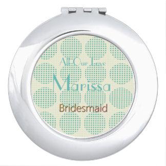 Modern-Paris-Aqua-Hochzeit-Monogramm-Bevorzugung Taschenspiegel