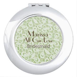 Modern-Pariser-Hochzeit-Grün-Spitze-Bevorzugung Schminkspiegel