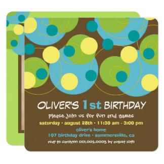 Moderne Aqua-Blase punktiert Jungen-1. Geburtstag Karte