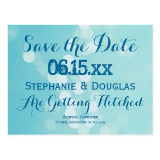 Moderne Aqua-Blau-Save the Date Postkarten