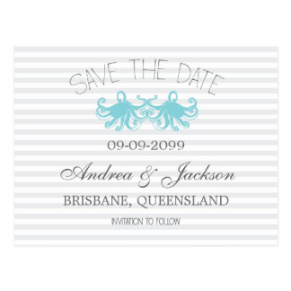 Moderne Aqua-Kraken-Strand-Save the Date Karten Postkarten