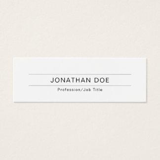 Moderne berufliche elegante weiße einfache Ebene Mini Visitenkarte