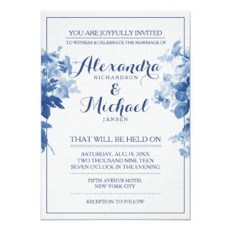 Modern Blue Floral Flowers Watercolor Wedding Card