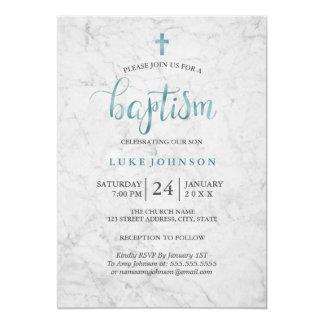 Moderne blaue Taufe-Marmorierungeinladung 12,7 X 17,8 Cm Einladungskarte