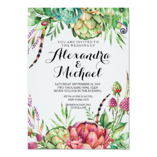 Modern Floral Watercolor Wedding Card