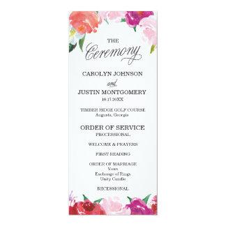 Moderne BlumenAquarell-Hochzeits-Programme - 10,2 X 23,5 Cm Einladungskarte