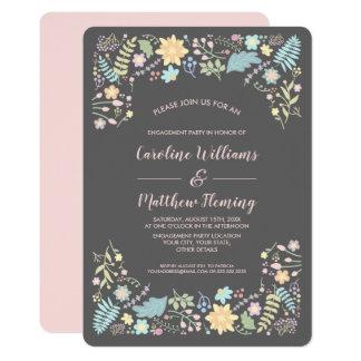 Moderne Blumenentwurfs-Verlobungs-Party Karte
