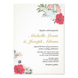Moderne Blumenhochzeits-Einladung 12,7 X 17,8 Cm Einladungskarte