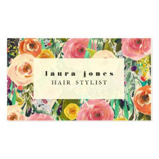 Moderne Blumenmalerei-Haar-Stylist-Schablone Visitenkarten
