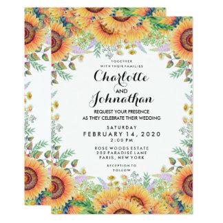 Moderne Blumensonnenblume-Aquarell-Hochzeit Karte