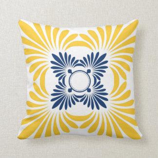 Moderne BlumenWurfs-Kissen: Blaues Gelb Kissen