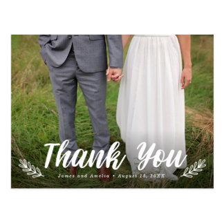 Moderne Buchstabe-Lorbeer-Hochzeit danken Ihnen Postkarte