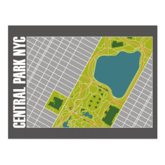 Moderne Central Park-Karte New York City Postkarte