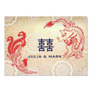 Moderne Drache-Phoenix chinesische Hochzeit 12,7 X 17,8 Cm Einladungskarte