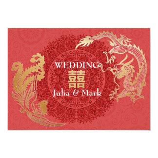 Moderne Drache-Phoenix chinesische Hochzeit laden 12,7 X 17,8 Cm Einladungskarte