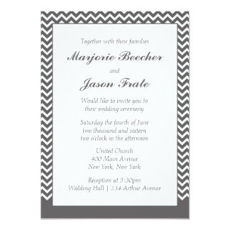Moderne einfache Zickzack Hochzeits-Einladung - 12,7 X 17,8 Cm Einladungskarte