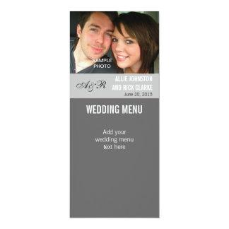 Moderne Foto-Hochzeits-Menü-Karten 10,2 X 23,5 Cm Einladungskarte