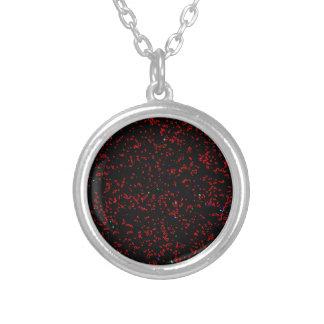 Moderne Fraktal-Kunst-Schwarz-rote Versilberte Kette