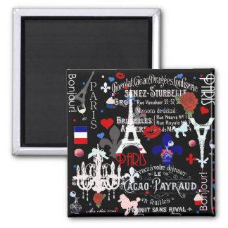 Moderne französische schwarze Collage Paris Quadratischer Magnet
