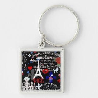 Moderne französische schwarze Collage Paris Schlüsselanhänger