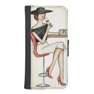 Moderne Frauen-trinkender Wein iPhone SE/5/5s Geldbeutel Hülle