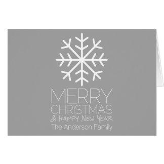 Moderne frohe Weihnacht-Schneeflocke - silbernes Karte