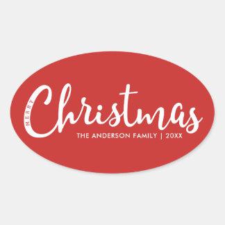 Moderne frohe Weihnachten Ovaler Aufkleber