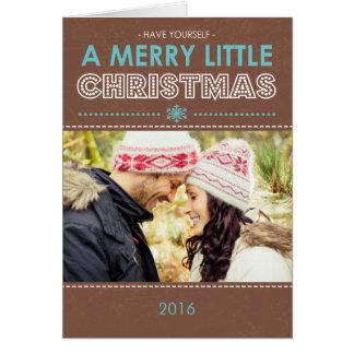 Moderne fröhliche kleine gefaltete Weihnachtskarte Karte