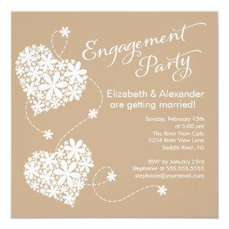 Moderne Gänseblümchen-Herz-Verlobungs-Party Quadratische 13,3 Cm Einladungskarte