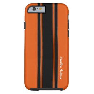Moderne gebrannte Orange, die Streifen mit Namen Tough iPhone 6 Hülle