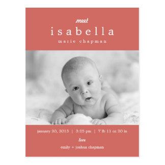 MODERNE Geburts-Mitteilung Postkarte