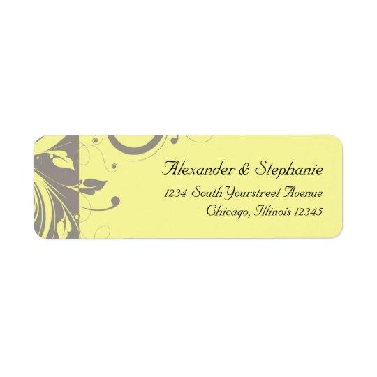 Moderne gelbe und graue Strudel-Hochzeit Kleiner Adressaufkleber
