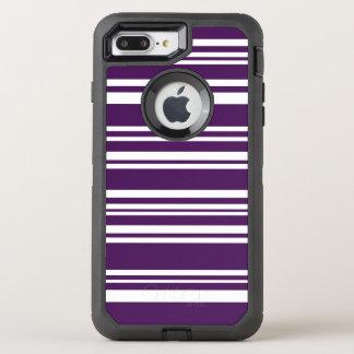 Moderne gemischte lila und weiße Streifen OtterBox Defender iPhone 7 Plus Hülle