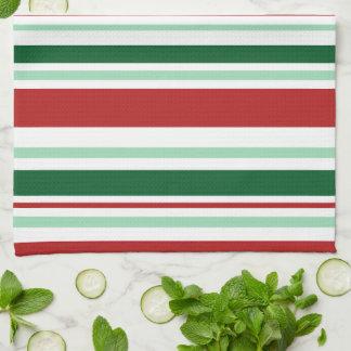 Moderne gemischte rote, grüne, weiße Streifen Handtücher