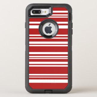 Moderne gemischte rote und weiße Streifen OtterBox Defender iPhone 7 Plus Hülle