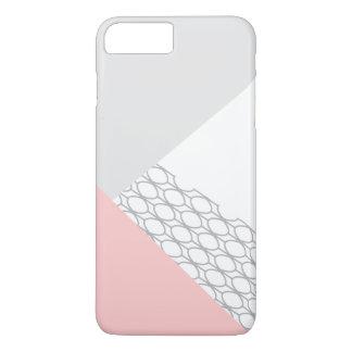 Moderne geometrische graue Koralle iPhone 8 Plus/7 Plus Hülle