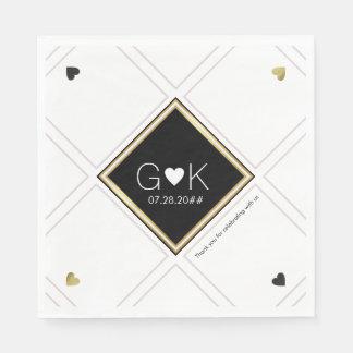 moderne geometrische Linien mit Monogramm. wedding Papierserviette