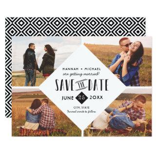 Moderne geometrische Save the Date Wedding Karte