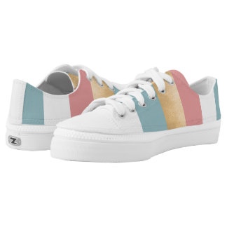 Moderne gestreifte ZipZ Tennis-Schuhe Niedrig-geschnittene Sneaker