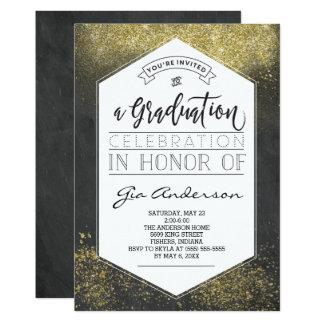Moderne Glitter-Goldabsolvent-Feier-Mitteilungen 12,7 X 17,8 Cm Einladungskarte