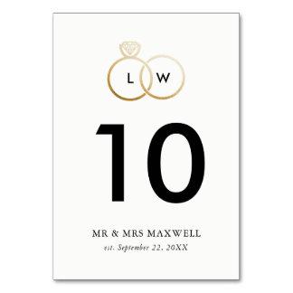 Moderne goldene Hochzeits-Ring-Tischnummer Karte