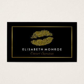 Moderne GoldGlitter-Lippen, Eskorte-Service Visitenkarte