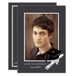Moderne graue Foto-Abschluss-Party-Mitteilung Karte