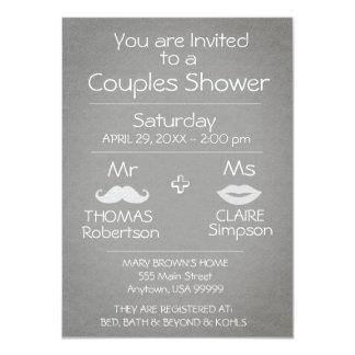 Moderne graue und weiße Paar-Dusche 11,4 X 15,9 Cm Einladungskarte